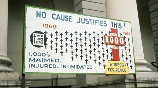 Billboard marking 1000th victim of NI Troubles, 1974