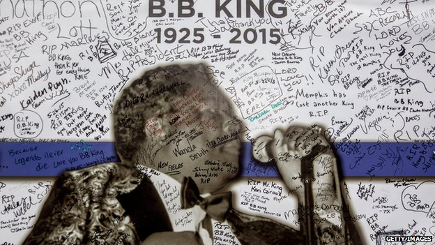 A banner hung up on BB King's Blues Club on Beale Street is covered with warm wishes from fans