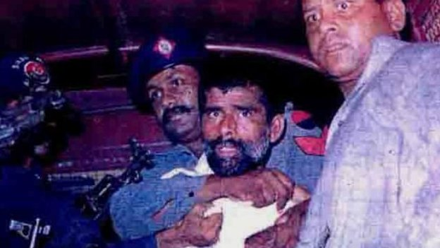 File image of two hijackers from night of attack (far right) Shahsawar Baloch