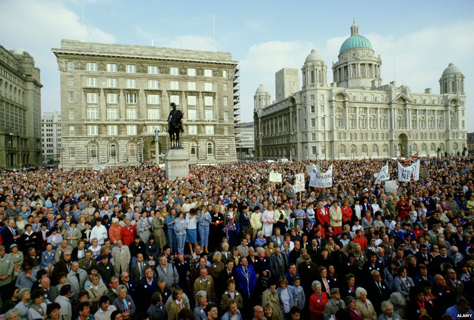 Protesters in Liverpool in 1985