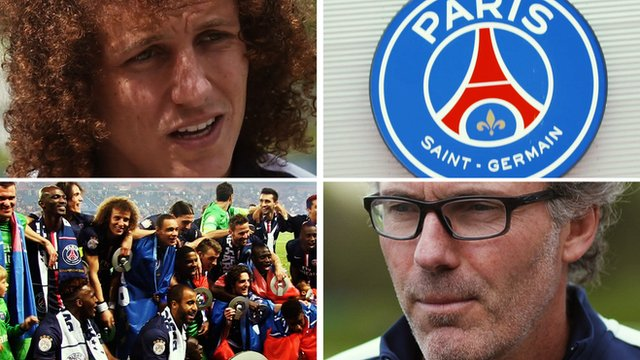 Paris St-Germain defender David Luiz and manager Laurent Blanc