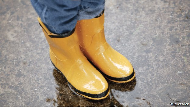 Wellie boots and puddle