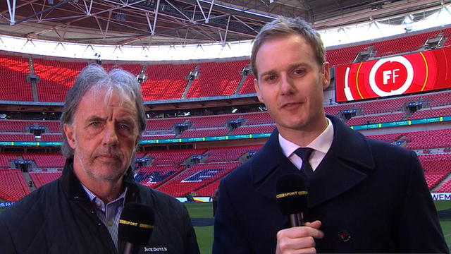 Dan Walker and Mark Lawrenson at Wembley stadium
