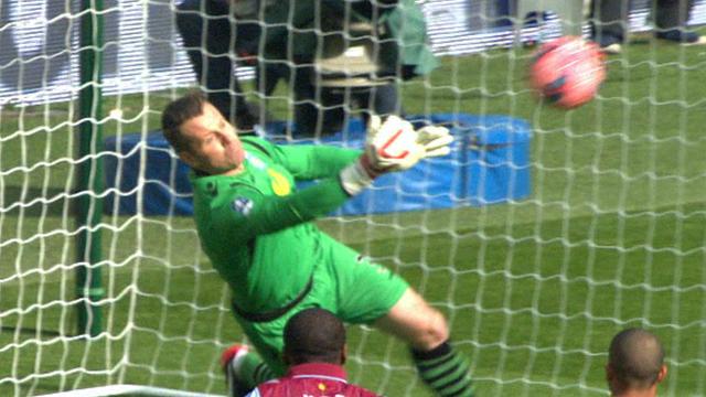 Aston Villa's Shay Given saves
