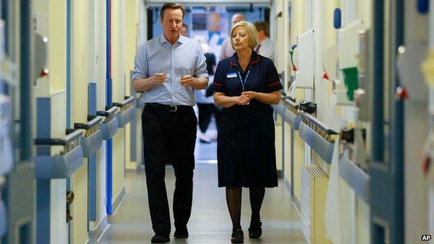 David Cameron at Whitney hospital in April