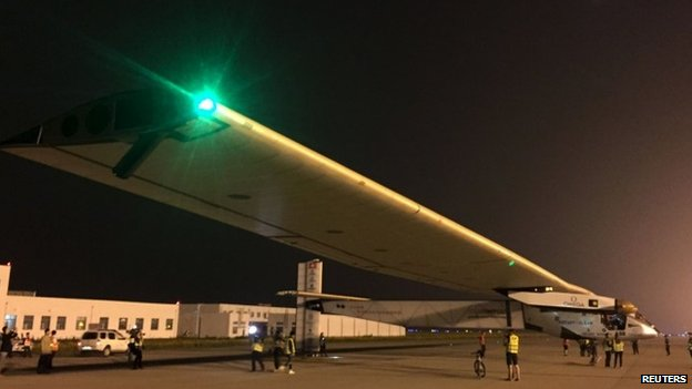The Solar Impulse 2 plane is seen on the tarmac as it gets ready to take off at the Nanjing Lukou International Airport, Jiangsu province, China, May 31, 2015.