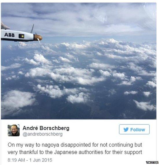 Tweet by Solar Impulse captain Andre Borschberg