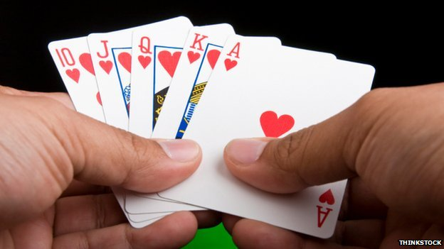 Royal flush of playing cards