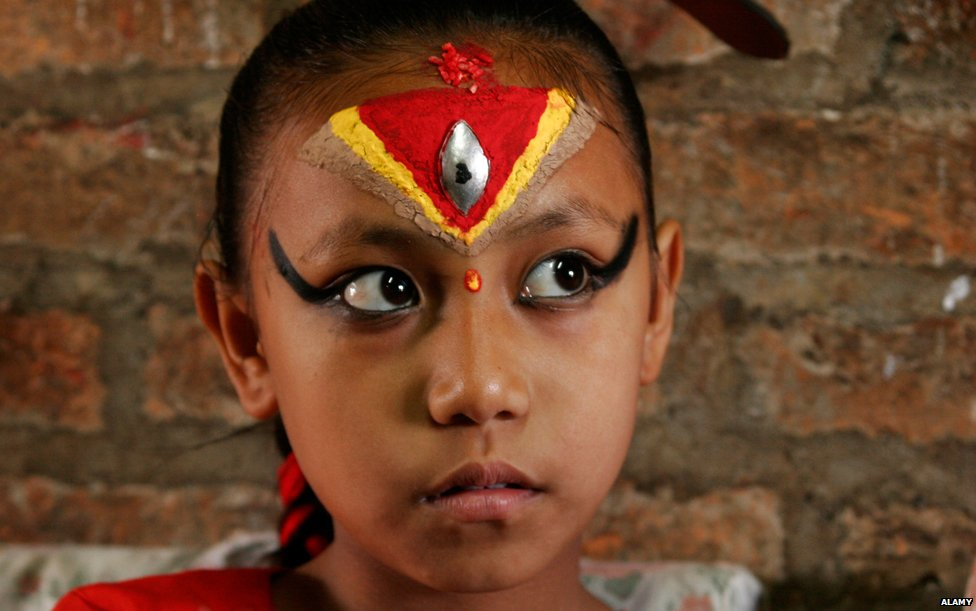 Kumari, girl worshipped as an incarnation of the Hindu goddess Durga, Bhaktapur, Nepal, Asia