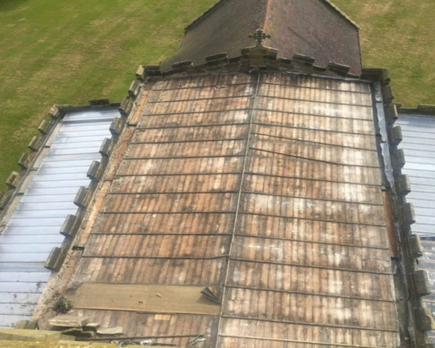 St Peter's Church stripped of lead