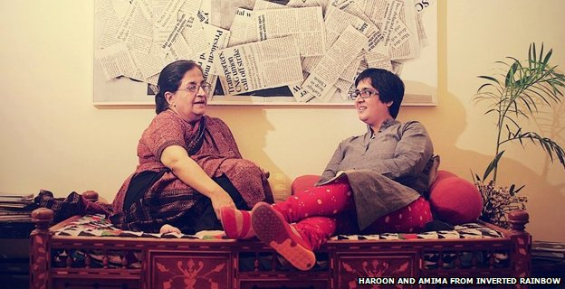 Sabeen Mahmud and her mother Mahenaz in 2012