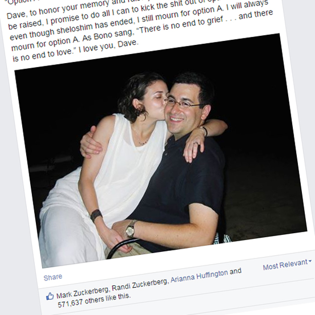 An excerpt from Sheryl Sandberg's Facebook post including a photo of her with her husband, Dave Goldberg