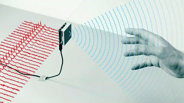 A graphic showing a radar emitting from Google's Soli chip
