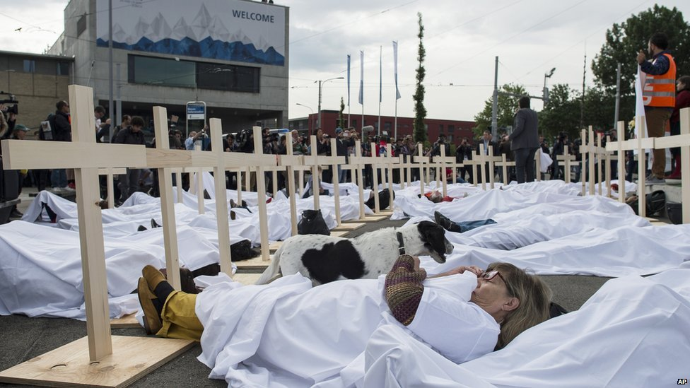 A trade union-organised protest in Zurich on 29 May against workers' conditions in Qatar