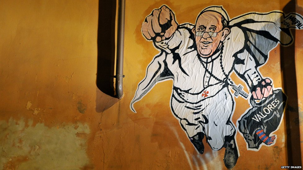 Graffiti in Rome showing the Pope as a superhero