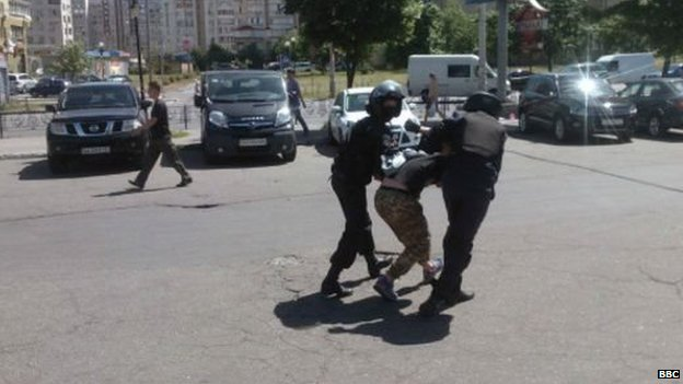 Police arrest a man in Kiev. Photo: 6 June 2015