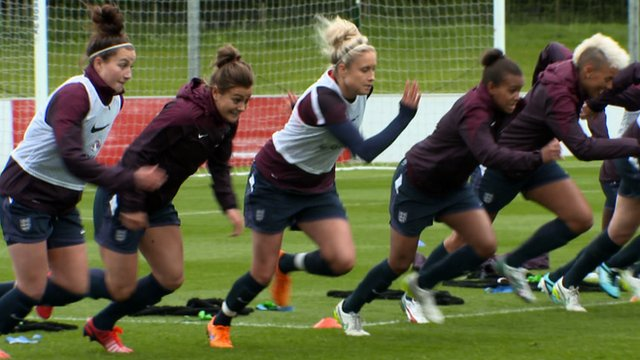 England women train ahead of the 2015 Women's World Cup in Canada