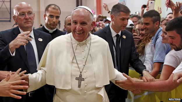 Pope Francis meets people in a youth centre dedicated to Pope John Paul II during his visit to Sarajevo, June 6, 2015.