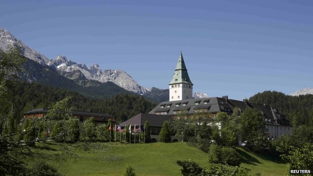 Elmau castle in the Bavarian Alps - venue for the G7, 7 June 2015