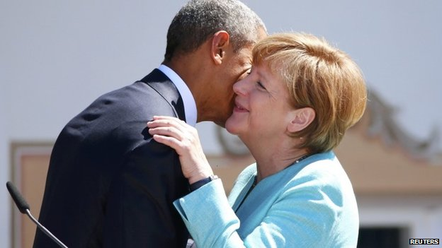 President Obama and German Chancellor Angela Merkel at the start of the G7 summit, 7 June 2015