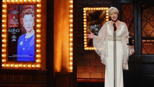 Helen Mirren accepting Tony Award
