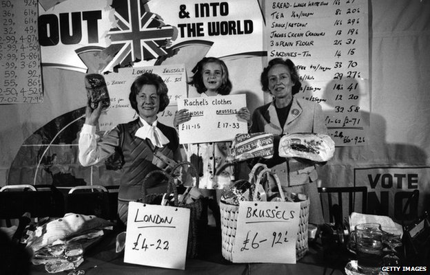 Social Services Minister Barbara Castle and helpers display a variety of goods purchased in London and Brussels with the intention of showing that Britain should leave the Common Market