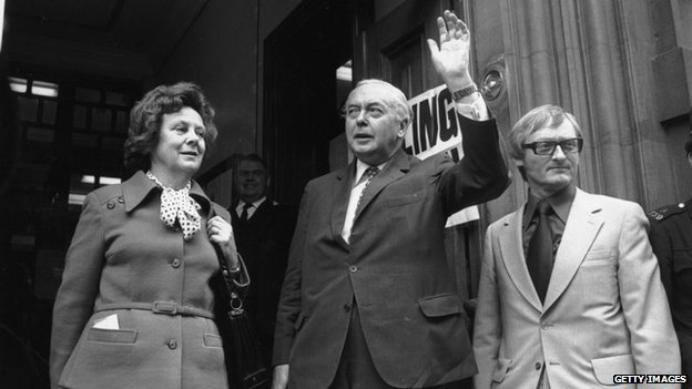Prime Minister Harold Wilson, accompanied by his wife, Mary to the Polling station in Great Smith Street