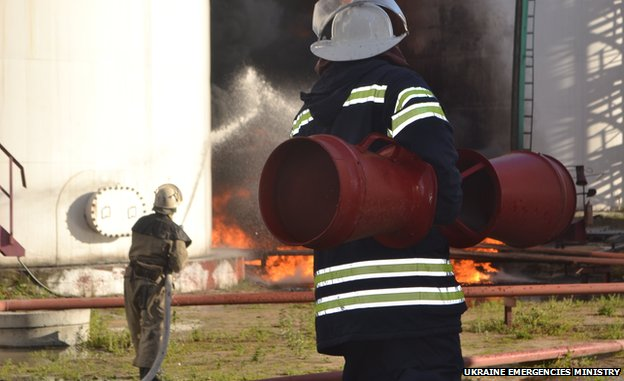 Ukraine emergencies ministry photo of blaze at petrol depot in Vasylkiv outside Kiev