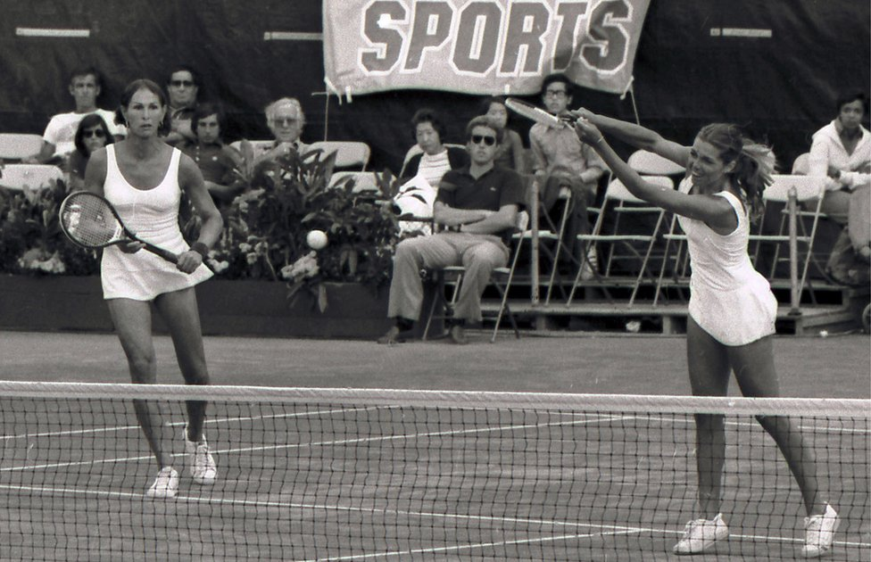 Renee Richards and Betty Ann Stuart playing in the US Open doubles final in 1977