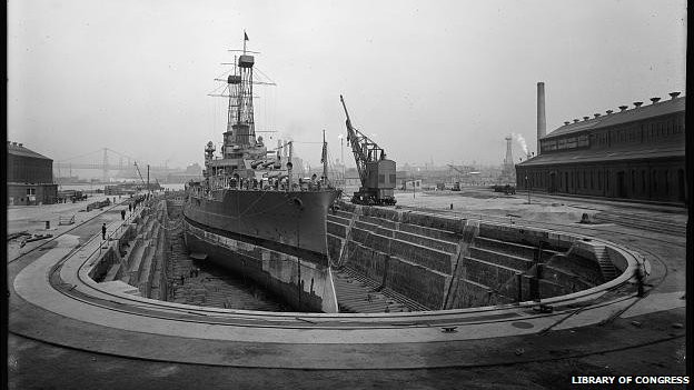 Ship being built in navy yard