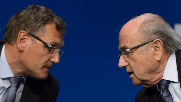 Jerome Valcke and Sepp Blatter during a press conference on 30 May 2015 in Zurich