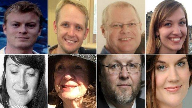 From left to right: Paul Bramley, Greig Friday, Martyn Matthews, Emily Selke. Bottom: Marina Bandres Lopez-Belio, Carol Friday, Oleg Bryjak, Maria Radner