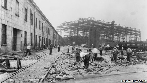 Men working in the Brooklyn Navy Yard in the 1930s