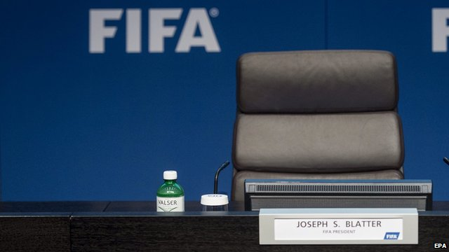 File photo from 2 June 2015 of Sepp Blatter's empty seat at news conference