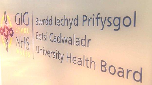 Betsi Cadwaladr health board sign