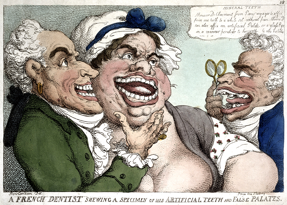 Cartoon depicting a woman being fitted for false teeth