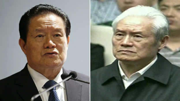 Zhou Yongkang pictured in 2011, then again at his court hearing in 2015