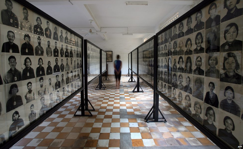 Photos of prisoners at Tuol Sleng