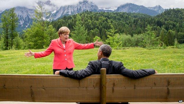 Obama and Merkel at G7 summit in June 2015