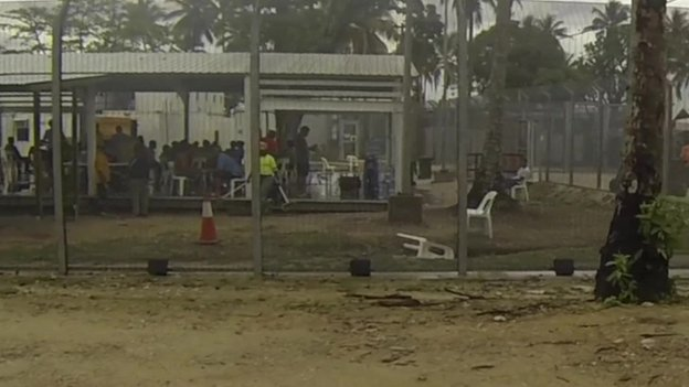 View through fence to an area where detainees are, on Manus Island, PNG (June 2015)