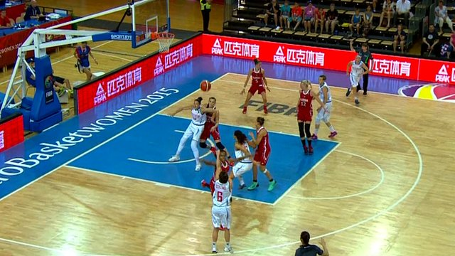 Great Britain in action against Russia at the 2015 EuroBasket