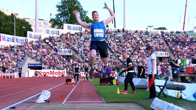 Greg Rutherford in action at the Oslo Diamond League meeting