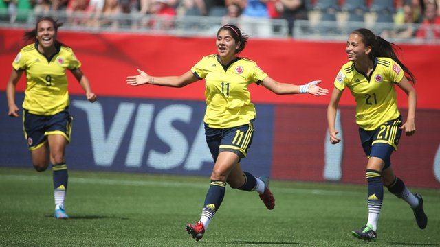Colombia's Catalina Usme celebrates after scoring against France