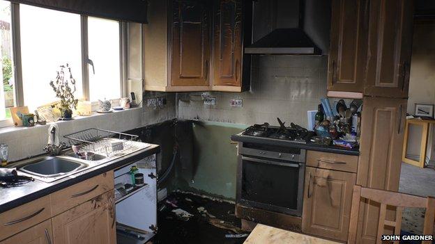 John Gardner's kitchen after the fire