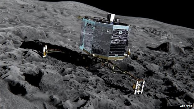An artists' impression of Rosettas lander Philae (front view) on the surface of comet 67P/Churyumov-Gerasimenko, 20 December 2013