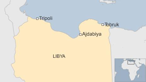 A map showing Ajdabiya, in Libya