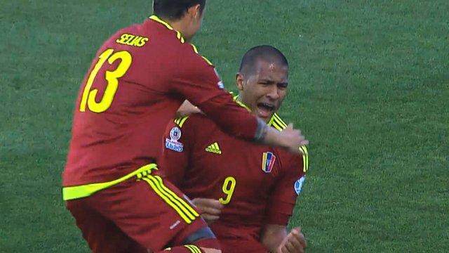 Jose Salomon Rondon celebrates scoring against Colombia