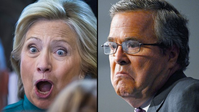 Composite image of Hillary Clinton and Jeb Bush