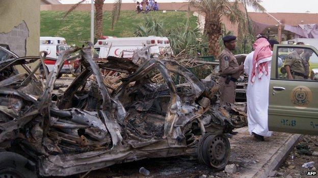 Aftermath of al-Qaeda suicide bomb attack in Riyadh, Saudi Arabia (13 May 2003)