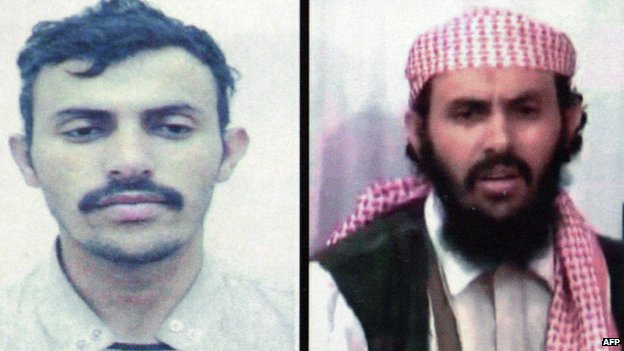 A file image shows a reproduction of a combination of two undated pictures of Qasim al-Raymi